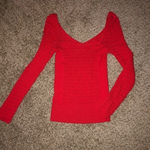 Free People Tops - Free People Red Body-con Long Sleeve Top